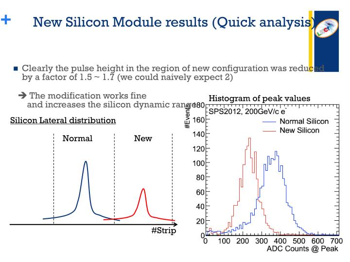 New Silicon Module results (Quick analysis)