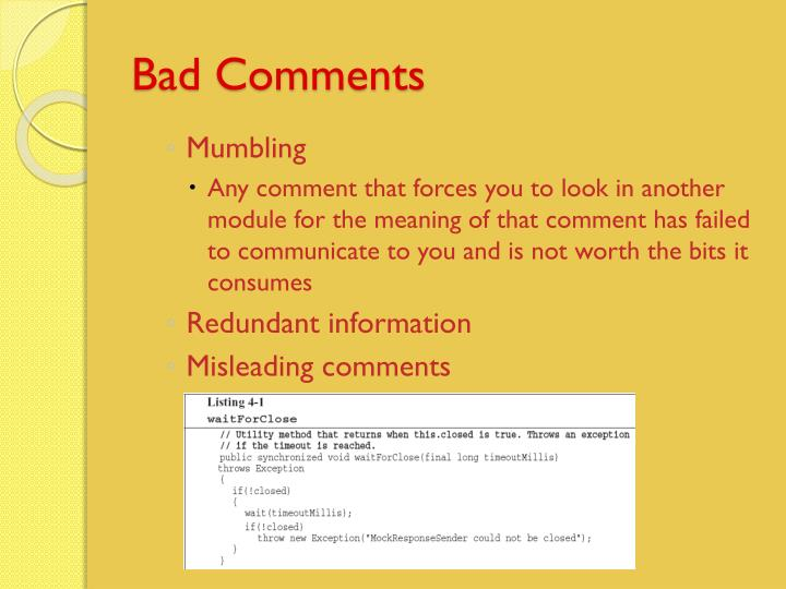 Bad Comments