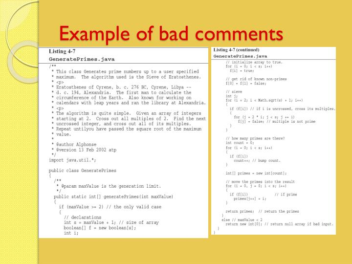 Example of bad comments