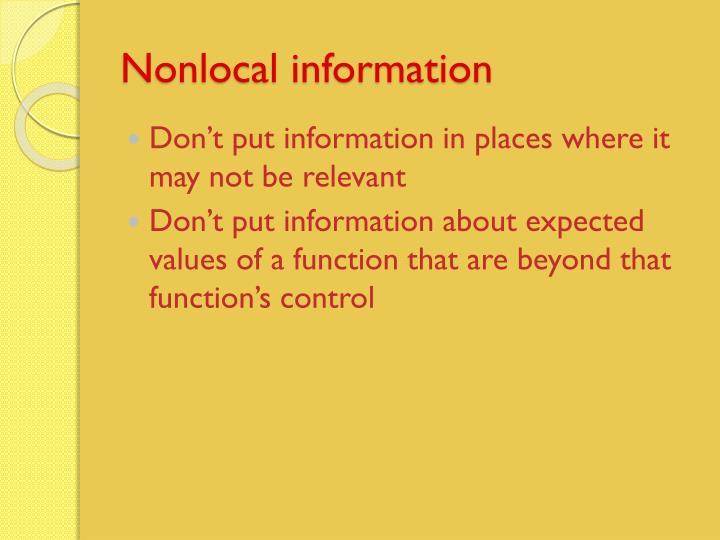 Nonlocal information