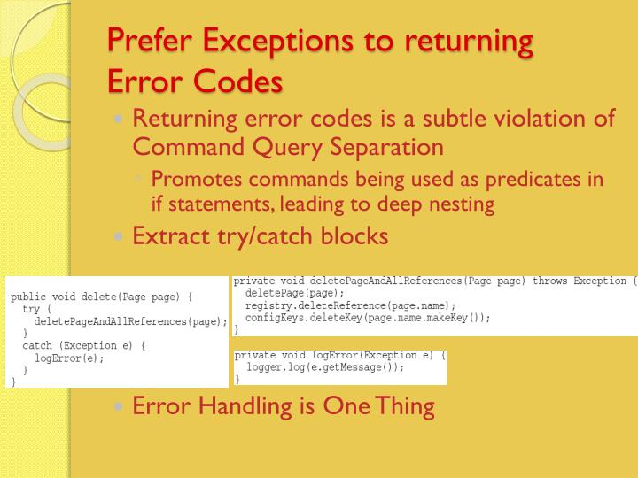 Prefer Exceptions to returning Error Codes