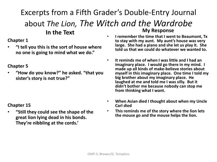 Excerpts from a Fifth Grader's Double-Entry Journal about