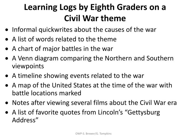 Learning Logs by Eighth Graders on a Civil War theme