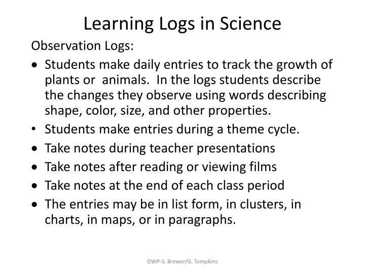 Learning Logs in Science