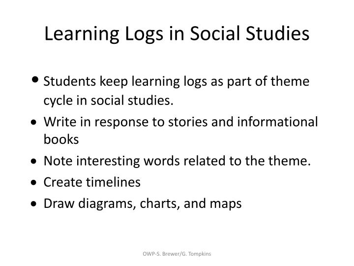 Learning Logs in Social Studies