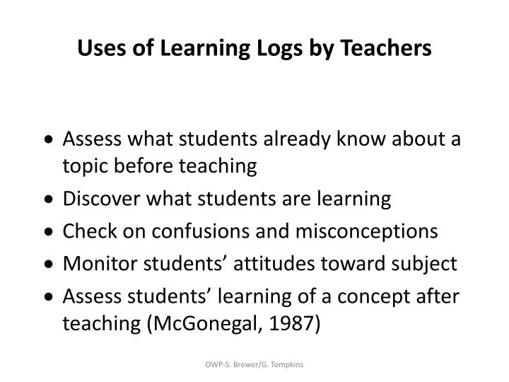 Uses of Learning Logs by Teachers