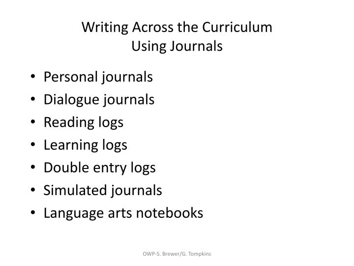 Writing across the curriculum using journals
