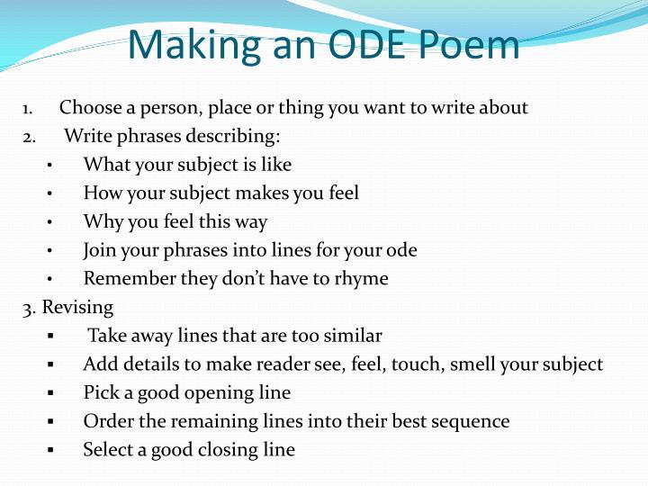 Making an ODE Poem