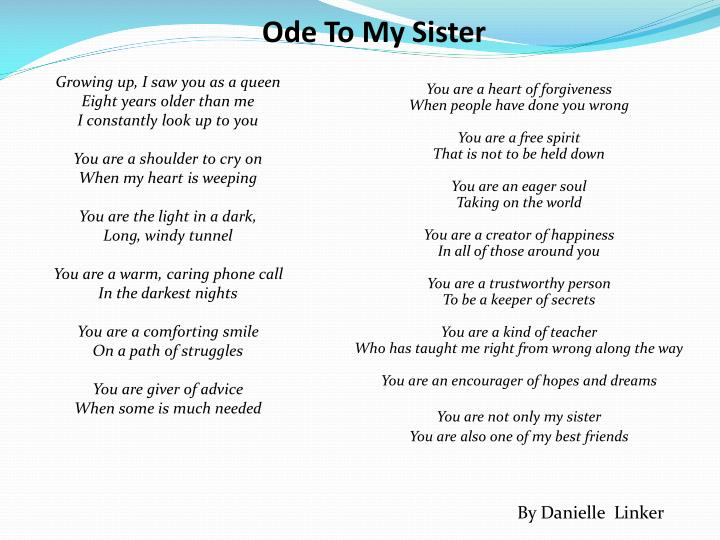Ode To My Sister