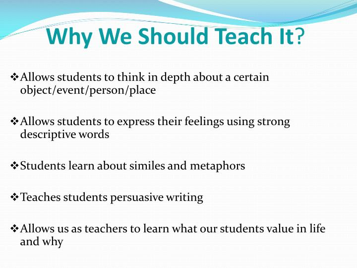 Why We Should Teach It