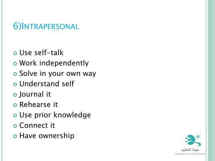 6)Intrapersonal