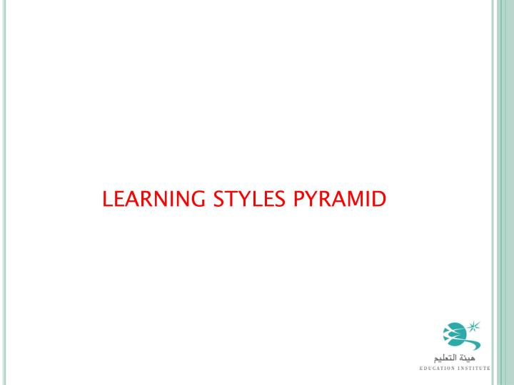 LEARNING STYLES PYRAMID