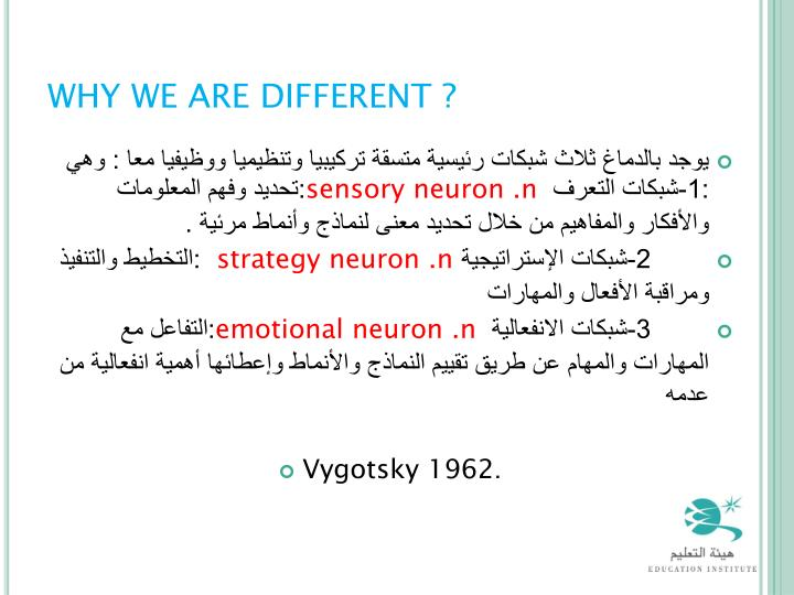 WHY WE ARE DIFFERENT ?