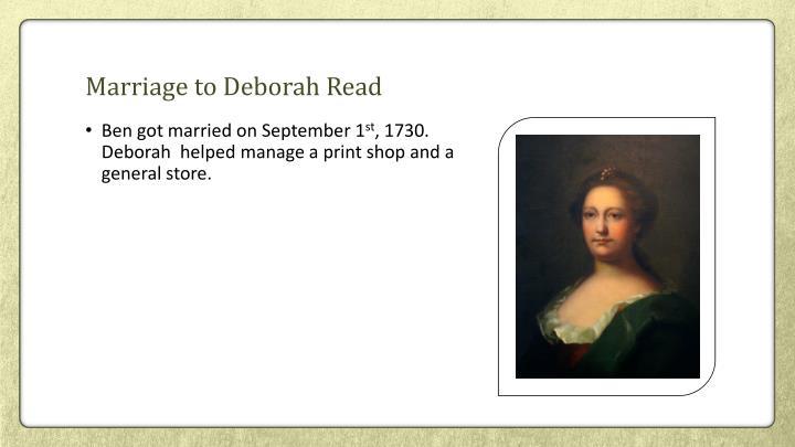 Marriage to Deborah Read