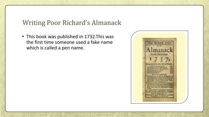 Writing Poor Richard's Almanack