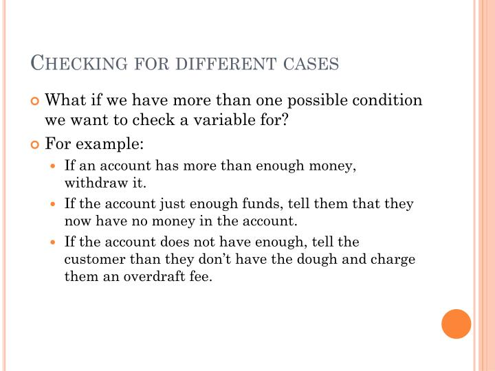 Checking for different cases