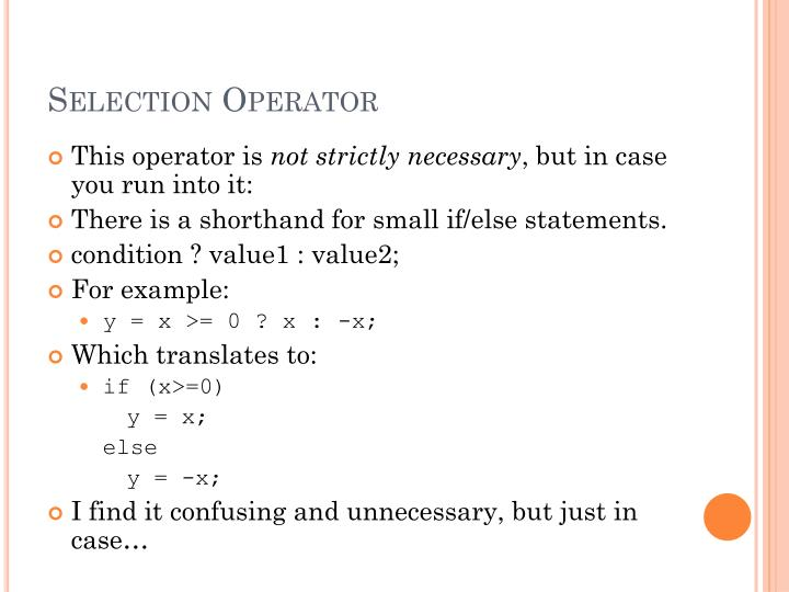 Selection Operator