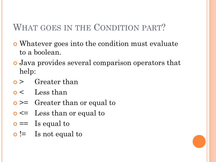 What goes in the Condition part?