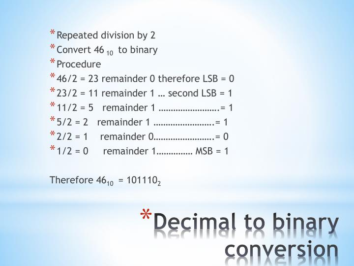 Repeated division by 2