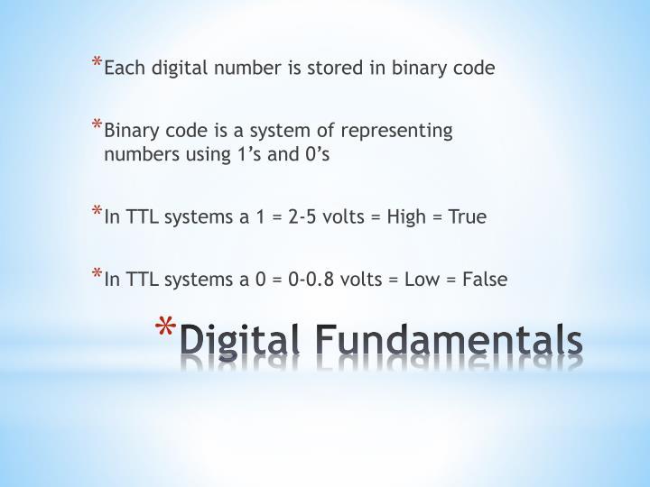 Each digital number is stored in binary code