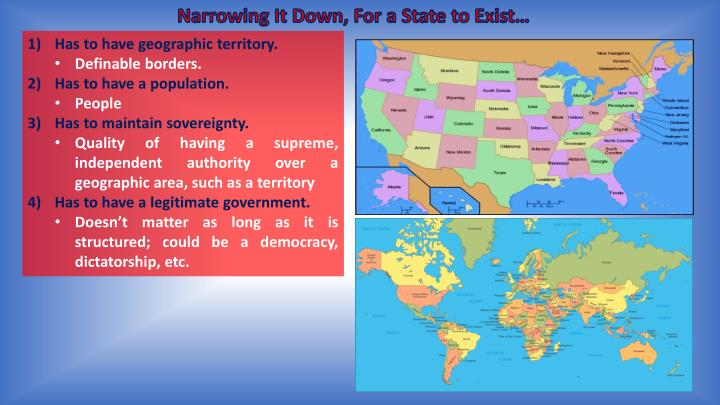 Narrowing It Down, For a State to Exist…