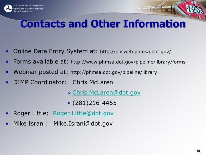 Contacts and Other Information