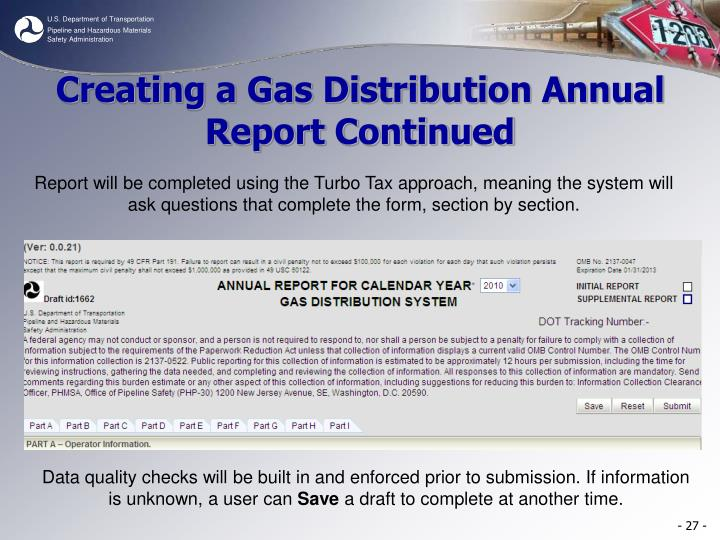 Creating a Gas Distribution Annual Report Continued