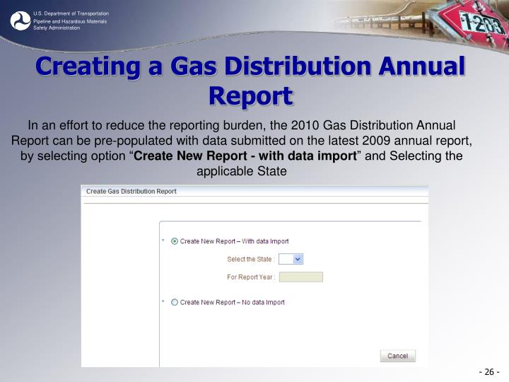 Creating a Gas Distribution Annual Report
