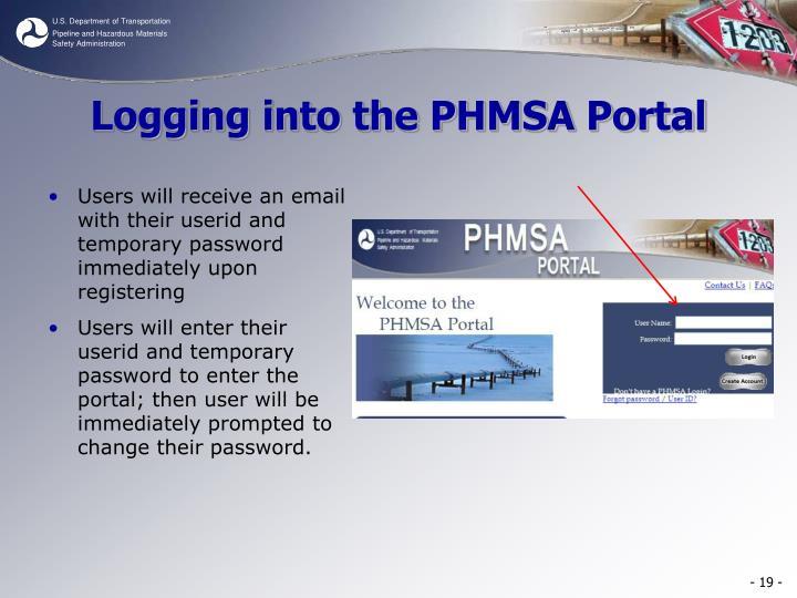 Logging into the PHMSA Portal