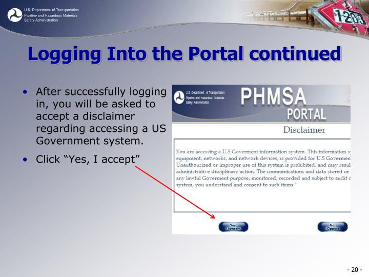 Logging Into the Portal continued