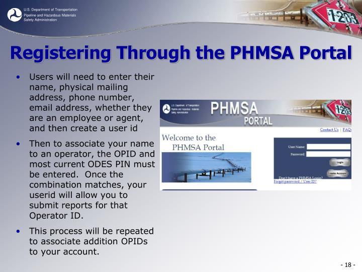 Registering Through the PHMSA Portal