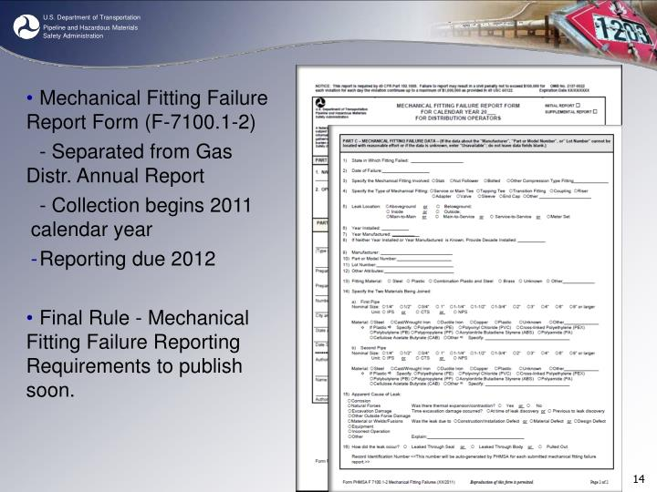 Mechanical Fitting Failure Report Form (F-7100.1-2)