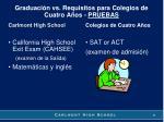 graduaci n vs requisitos para colegios de cuatro a os pruebas