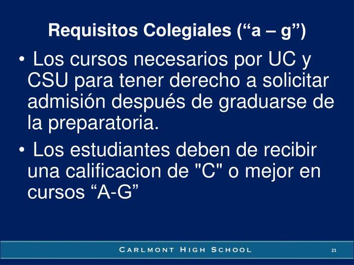 Requisitos Colegiales