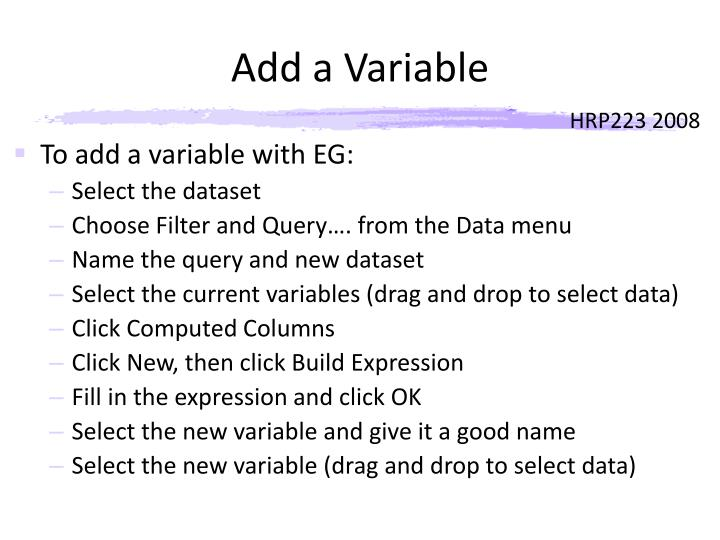 Add a Variable