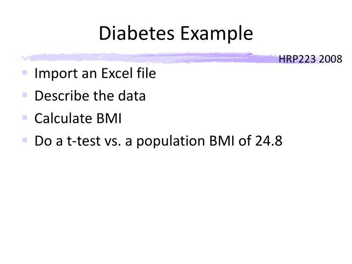 Diabetes Example