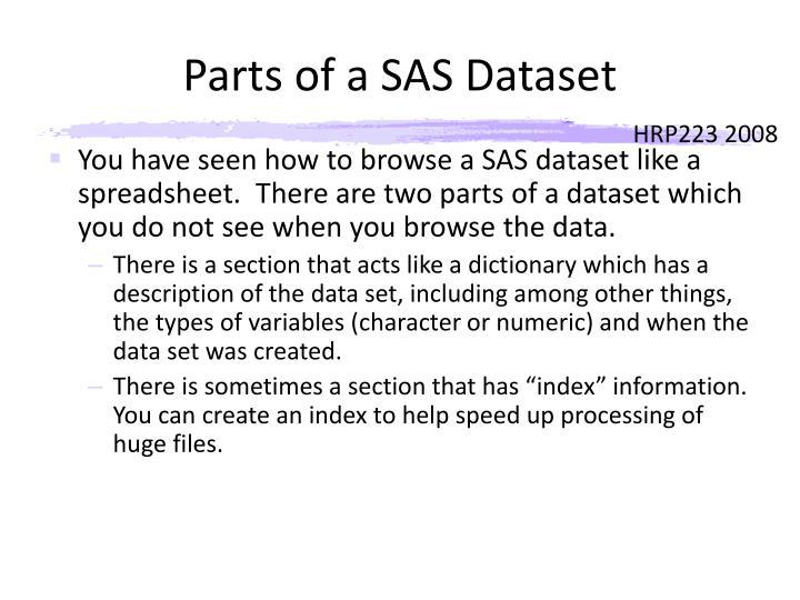 Parts of a SAS Dataset