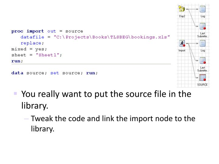 You really want to put the source file in the library.