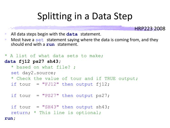 Splitting in a Data Step