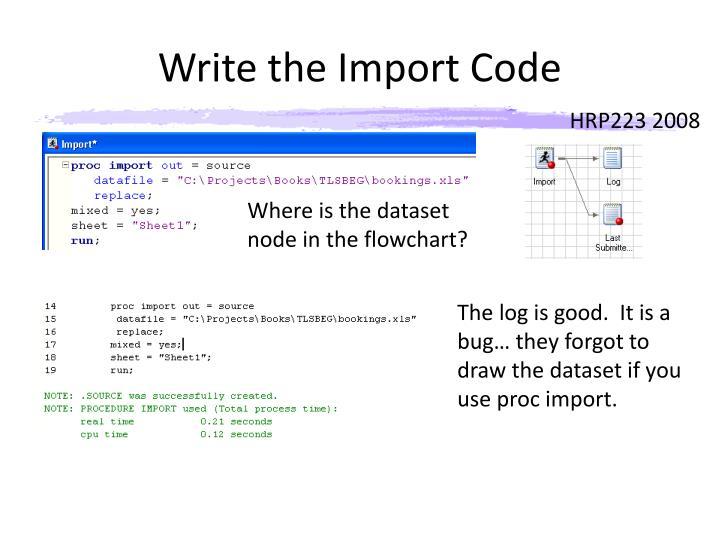 Write the Import Code