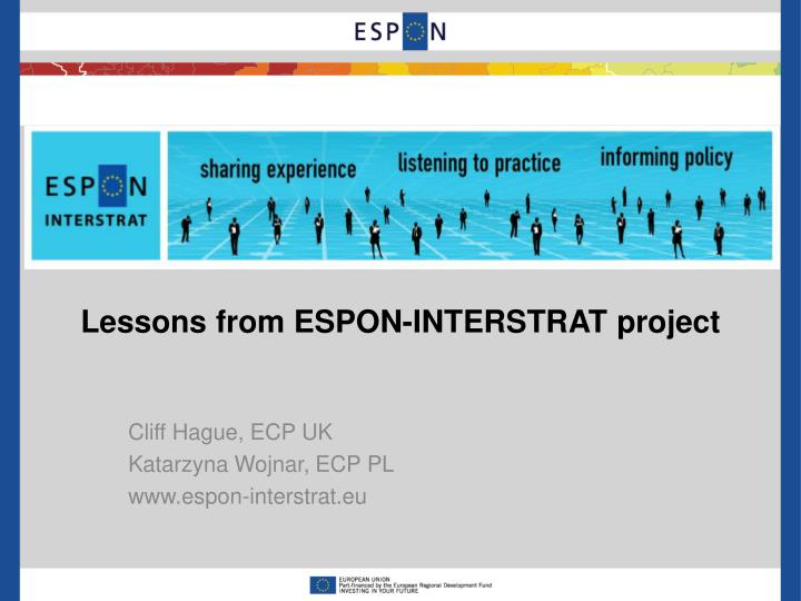 Lessons from espon interstrat project