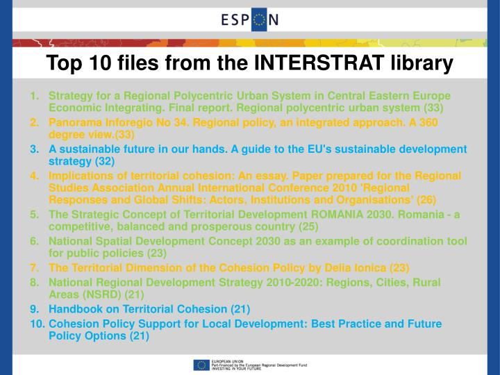 Top 10 files from the INTERSTRAT library