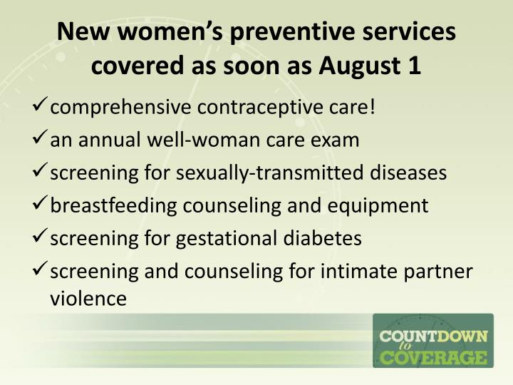 New women's preventive services covered as soon as August 1