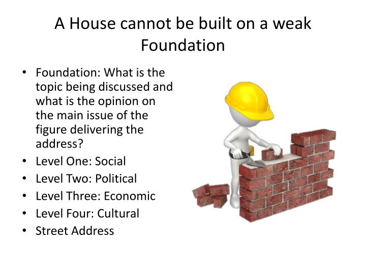 A House cannot be built on a weak Foundation