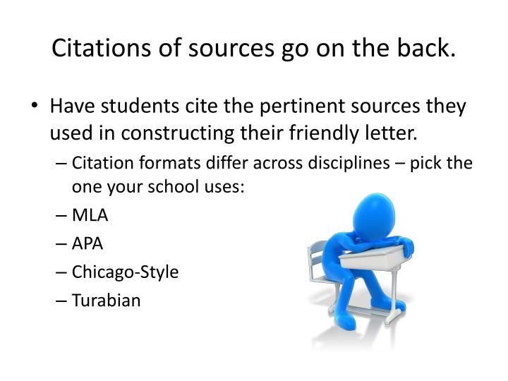Citations of sources go on the back.