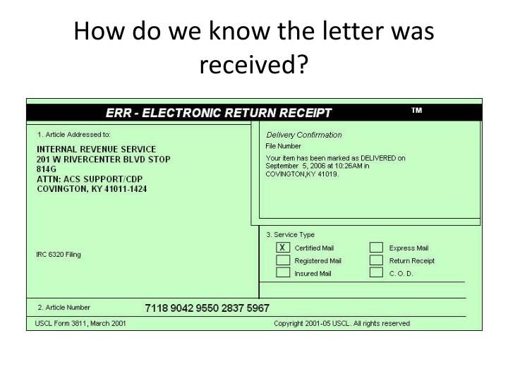 How do we know the letter was received?