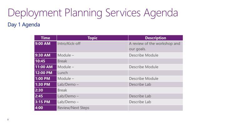 Deployment Planning Services Agenda