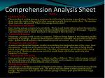 comprehension analysis sheet
