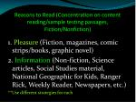 reasons to read concentration on content reading sample testing passages fiction nonfiction