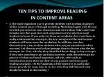 ten tips to improve reading in content areas